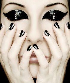 glamorous  eye makeup and nails