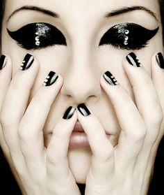 glamorous  eye makeup and nails