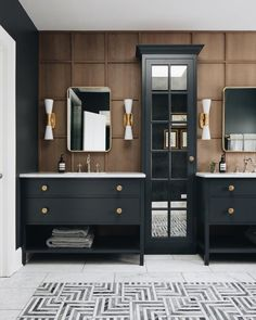Masculine master bathroom, paneled vanity wall, inset tile patterned floor, mirrored cabinet, dark vanity Fair Oaks — jean stoffer design Source by The post Fair Oaks — jean stoffer design appeared first on Dotson DIY Services. Modern House Design, Modern Interior Design, Luxury Interior, Douche Design, Wood Bathroom, Master Bathroom, Neutral Bathroom, Small Bathroom, Master Master
