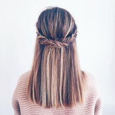Fishtail half up half down hair
