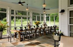 Screened In Porch Design, Pictures, Remodel, Decor and Ideas - page 14 Long Dining Room Tables, Sunroom Dining, A Table, Large Table, Dining Area, Dining Rooms, Porch Table, Porch Chairs, Sunroom Furniture