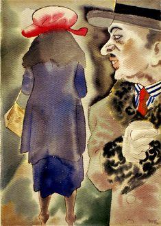 Georg Grosz, Ohne Titel (Auf der Straße)  Untitled (On the street) 1923