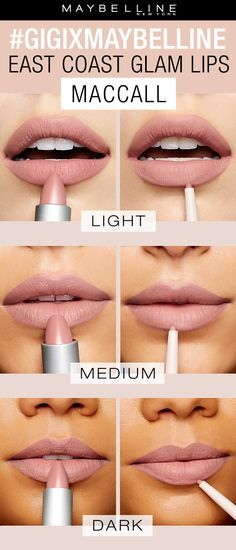 The East Coast Glam collection from the gigixmaybelline collaboration by Gigi Hadid features three gorgeous nude lipstick combinations.   Maccall is the lightest, cool toned nude lipstick. You can purchase as either a set or the lipsticks and liners separately. Exclusively at Ulta Beauty!
