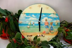 """Ceas cu stele """"La malul mării"""" Stele, Decoupage, Painting, Art, Art Background, Painting Art, Kunst, Paintings, Performing Arts"""