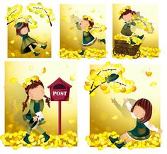 Elements of girl in yellow leaves Vector