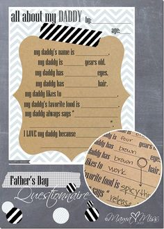 fathers day questionnaires, father's day questionnaire, fathersday crafts, father day questionnaire, fathers day scrapbook
