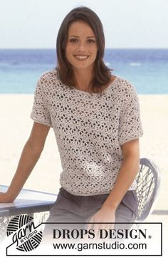 DROPS Crocheted sweater in Muskat Free pattern by DROPS Design.