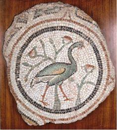 BYZANTINE MOSAIC, 5th Century AD, from Asia Minor, Peacock, symbol of Resurrection