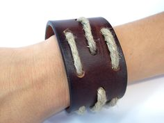 Leather Belt Cuff with Hemp Cord and Wood Bead by EllaJudeDesigns, $32.00