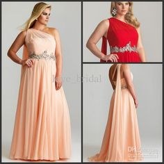 Wholesale 2014 Pretty Cheap Plus Size Beaded Crystals Ruched One Shoulder Pearl Pink Red Chiffon Long Prom/Evening Dresses/Pageant, Free shipping, $116.7/Piece | DHgate Mobile