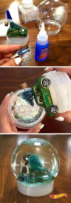 Shake up the season with a DIY Hot Wheels snow globe. 1. Get kit from a crafts store. 2. Add a car and whatever your imagination desires. 3. Rejoice!
