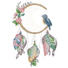 Crescent Dream Catcher Cross Stitch Pattern - Native American
