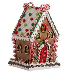 """RAZ Claydough Gingerbread House Decoration  Red, Green, White Made of Claydough Measures 13.5"""" X 8"""" X 8"""" For Decorative Use Only  This item is on order and will arrive Summer 2015"""