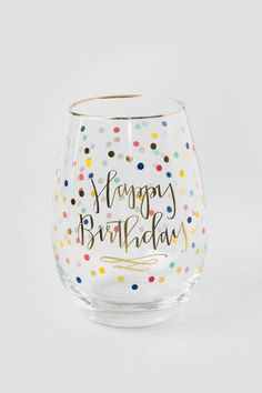 Gold and Polka Dot Happy Birthday Stemless Wine Glass | Bar & Entertainment |                                              francesca's