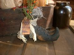 Primitive Halloween Witches Boots by oldgoatprims on Etsy