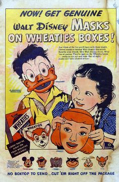 Masks on the backs of cereal boxes you cut out and played with until they tore growing up in the 50s