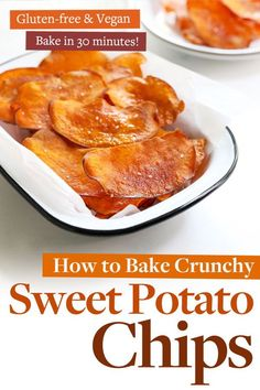 Sweet Potato Chips are baked, instead of fried, for a healthy, crunchy snack that bakes in 30 minutes. #sweetpotato #vegan #veganrecipes #chips #easyrecipes #glutenfree #glutenfreedairyfree #glutenfreerecipes #glutenfreevegan #dairyfree #healthyfood #healthyrecipes Yummy Vegetable Recipes, Side Dish Recipes, Whole Food Recipes, Side Dishes, All You Need Is, Healthy Snacks, Healthy Recipes, Healthy Eating, Paleo Meals
