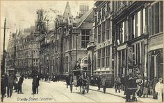 Granby Street postcard unknown date. Leicester England, Photographs, History, Architecture, Street, Arquitetura, Historia, Photos, Architecture Design