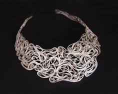 """Necklace   Victoria Lansford.  """"Curves in the right place, II"""".  Russian filigree; sterling silver, fine silver."""