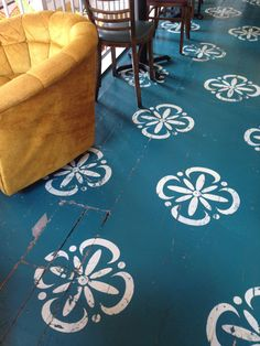 Stenciled Floor Image love these colors I think my back porch would look good like this