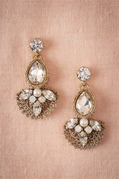 $150 - bride - Crocheted Crystal Chandeliers in Shoes & Accessories Jewelry Earrings at BHLDN