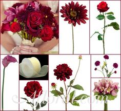 Cranberry~Burgundy Gerbera Daisies & Dahlias, Rich Dark Red Bud Roses & Open Roses, Violet~Purple Calla Lilies & Pom Pom Mums, and Fuchsia Pink Cymbidium Orchids. Wrap with a Silver Satin or Sheer Ivory Chiffon Ribbon.