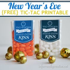 Use a free printable to dress up a container of Tic-Tacs for the occasion.  These are for a New Year's Eve Party but there are possibilities for Halloween (Jack-o-Lantern seeds) and many others!