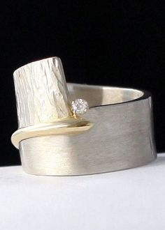 Bridging the Gap by Dagmara Costello | Gold, Silver & Stone Wedding Band