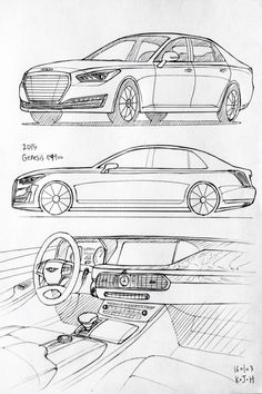Car drawing 160103.  2015 Hyundai Genesis EQ900.   Prisma on paper.  Kim.J.H