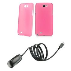 Amazon.com: Samsung Galaxy Note II Premium Combo Pack - Frosted Transparent Pink Slim Fit Case + Atom LED Keychain Light + Micro USB Wall Charger: Cell Phones & Accessories