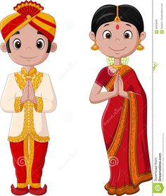 Illustration about Illustration of Cartoon Indian couple wearing traditional costume. Illustration of cartoon, culture, country - 88358639