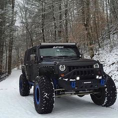 Black and blue Jeep