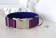 Red Blue Silk Dog Collar With Blue Satin by TwistedPetDesigns, $23.00