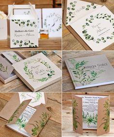 Botaniczne zaproszenia ślubne, greenery