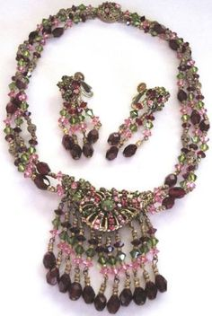 MIRIAM HASKELL Pink, Green & Red Rhinestone & Crystal Necklace Earring Set
