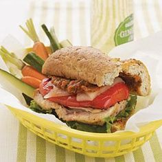Work quickly when you assemble this sandwich so the chicken and bell pepper retain enough heat from the grilling to melt the cheese....