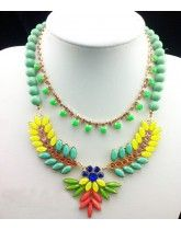 J Elegant Crew Fluorescence Colourful Gem Leaves Double Deck Crew Necklace High Quality