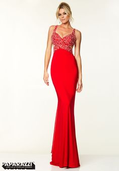 97026 Prom Dress / Gown Beaded Jersey with Chiffon Fly Away Red