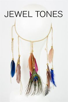 Feather Headband- Jewel Tone Jeweled Headband, Feather Headband, Jewel Tones, Boho Necklace, Jewlery, Jewerly, Schmuck, Jewelry, Jewels