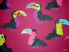 Rainforest week - Toucans (use tissue paper, glue, paper plates, and markers)