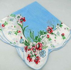 Blue Pink White Vintage Hankie Frame Sew Quilt D3