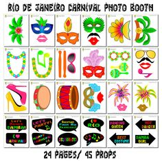 Rio Carnival Photo Booth Props 46 Pieces 33 by HappyFiestaDesign