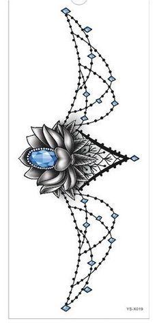 Tattoo Sticker 1pc new Chest large flower skull rose #TattooIdeasForWomen
