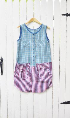 Artisan Smock Dress/ Red White and Blue/ July by RebirthRecycling, $65.00