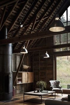 Wood & industrial, color scheme. Fireplace