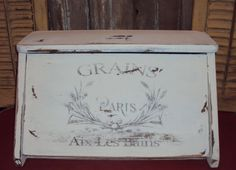 Vintage Wood Bread Box Distressed Shabby Wood Painted-paris Transfer…