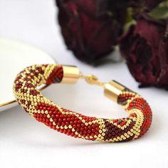 Golden bracelet, Beaded Crocheted Bracelet, Marsala, Gold bracelet, Seed Bead Bracelet, Beaded Bracelet, Gift, Must Have Jewelry - pinned by pin4etsy.com