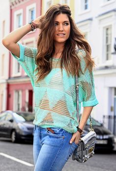 @roressclothes clothing ideas #women fashion Knitted Blouse Outfit Idea for a Street Style