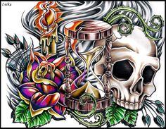 Hourglass Tattoo Design by CakeKaiser on deviantART 3d Leg Tattoos, 4 Tattoo, Skull Tattoos, Back Tattoo, Life Tattoos, Tattoo Design Drawings, Art Drawings Sketches, Tattoo Sketches, Tattoo Designs