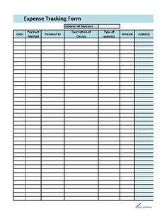 Free Printable Blank Charts | expense - Free Printable Sample Document Templates, Forms and ...
